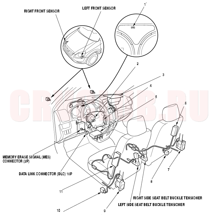 2005 honda accord side airbag sensor location